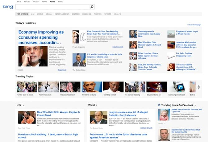 Bing's overhauled News layout highlights trending social topics, rapid downfall of humanity