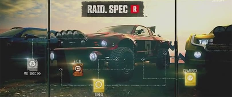 The Crew's customization trailer puts giant offroad tires on a Mustang