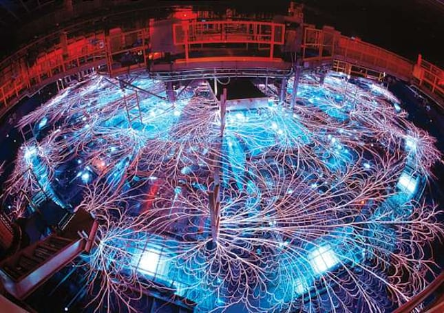 Visualized: Sandia National Laboratories' Z machine erupts in a web of lightning