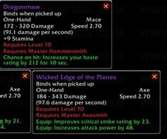 Epic weaponsmithing weapons no longer unique