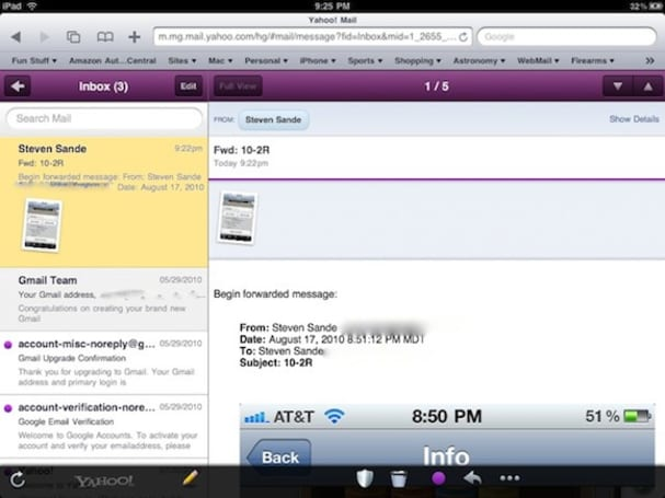 Yahoo! Mail for iPad and iPhone contains tasty HTML5 goodness