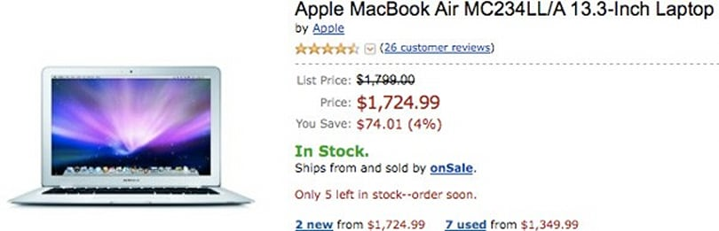 MacBook Air supply dwindling for online retailers, rumor mill raises an eyebrow