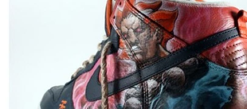 These custom Street Fighter Akuma shoes have a demon's sole