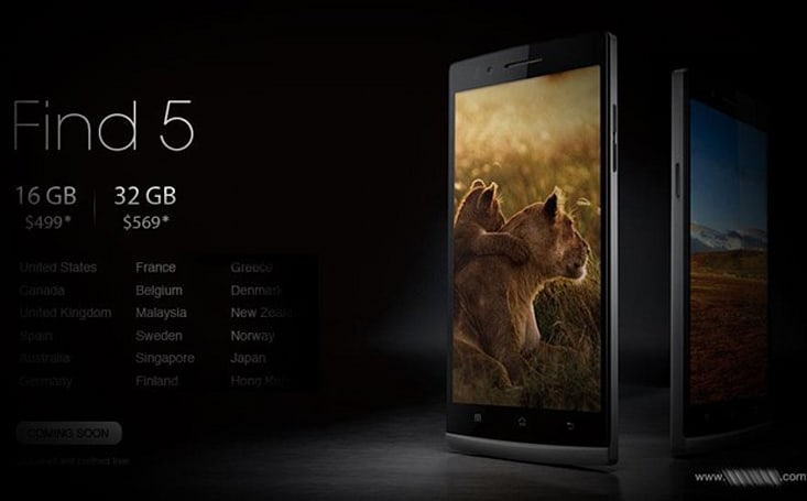 Oppo Find 5 to hit more international markets in Q1 2013, adds a $569 32GB model