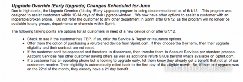 Sprint reportedly cancelling its early upgrade program June 1st (update)