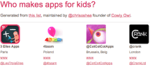 A comprehensive list of developers who make apps for kids