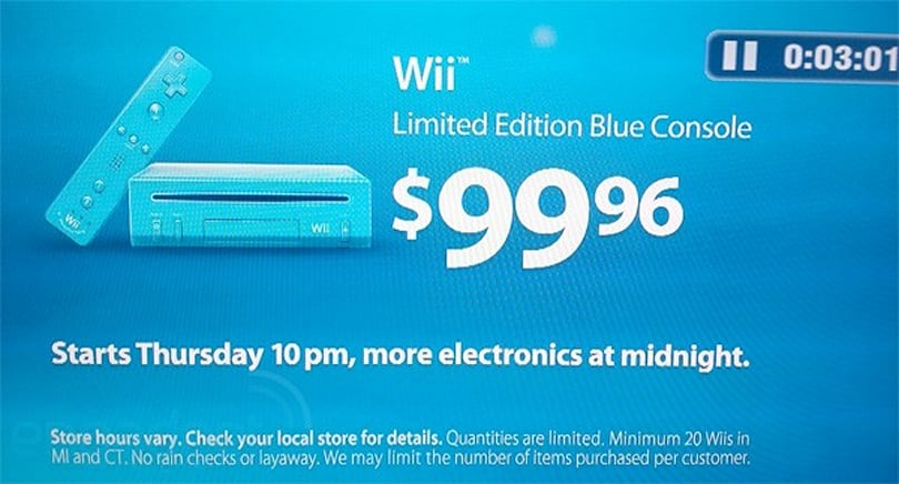 Walmart selling Limited Edition Blue Wii for $99.96 on Black Friday