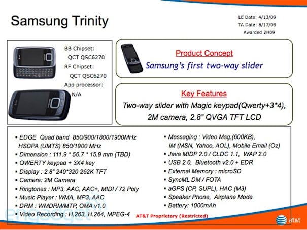 Samsung Trinity dual slider coming to AT&T?