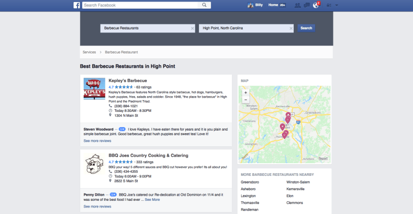 Facebook helps you find highly-rated local businesses