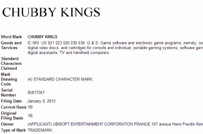 'Chubby Kings' trademark filed by Ubisoft
