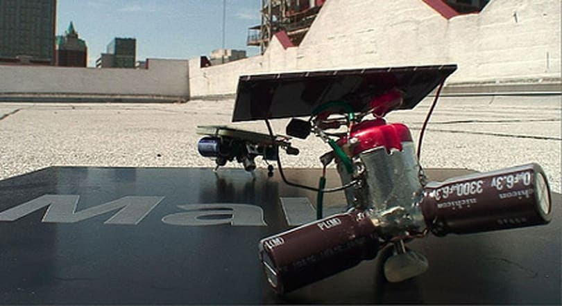 Solar-powered beambots scurry about, shun batteries