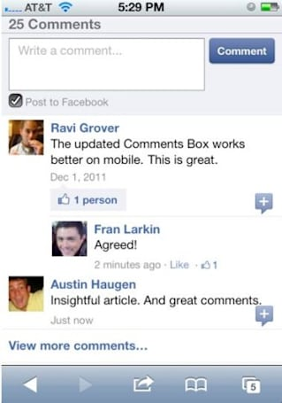 Facebook gets chatty, brings Comments Box plugin to mobile media sites
