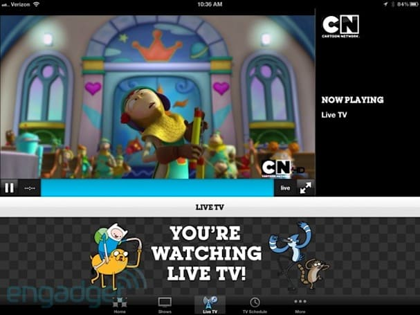 Cartoon Network's iPhone and iPad app adds a live TV feed, for authenticated customers