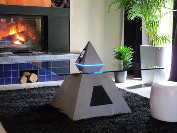 Pyramid-shaped table with iPod dock makes you look like a tool
