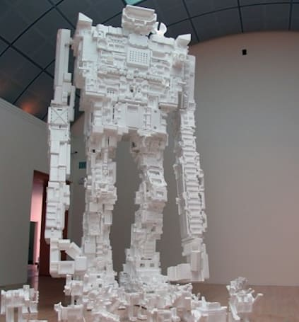 22-foot tall robot crafted entirely from excess styrofoam