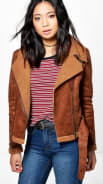 Cropped Aviator Fur Lined Jacket