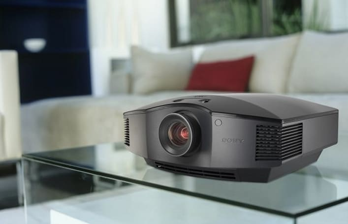 Sony VPL-HW10 SXRD projector peeks from behind the curtain