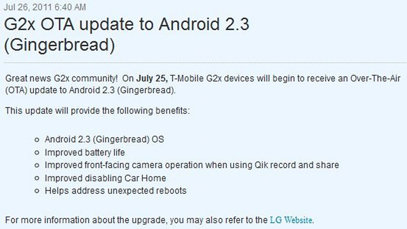 Gingerbread comes to T-Mobile G2x, users feel loved again