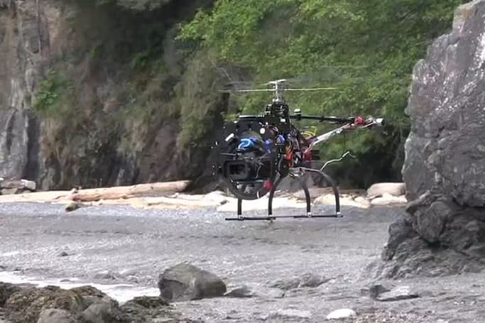 RED ONE mounted to UAV, flown around San Juan Island (Update: false alarm, it's a Panasonic)