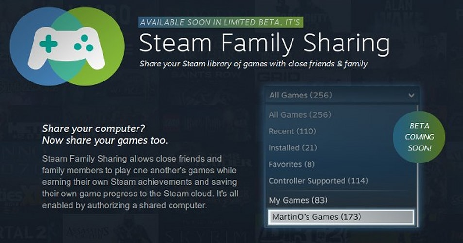 how to use family sharing steam