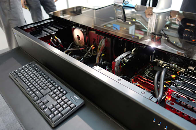 An up close look at the giant gaming PC that's also a desk