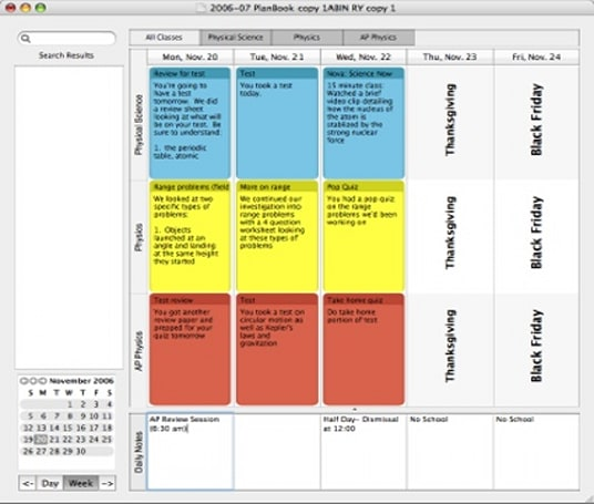 Planbook: Lesson planning for teachers, Mac style