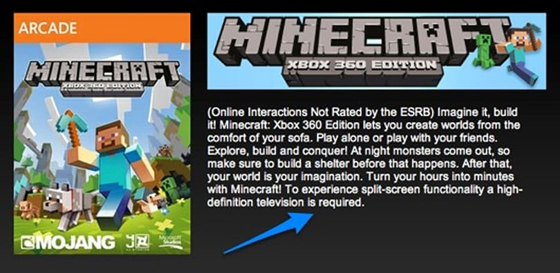 Minecraft XBLA refunds available to SDTV owners