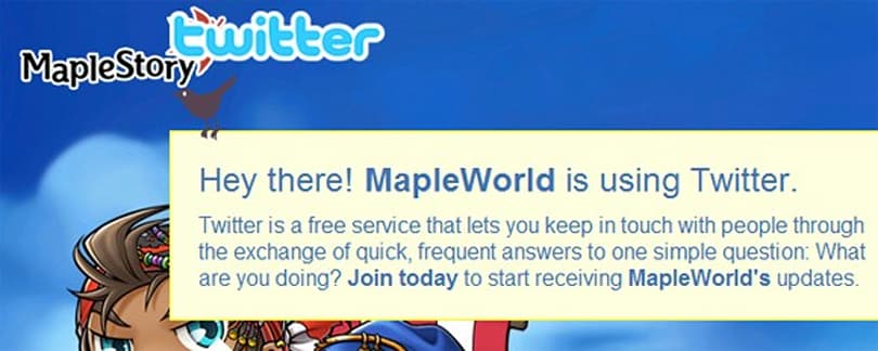 MapleStory joins the wild world of Twitter
