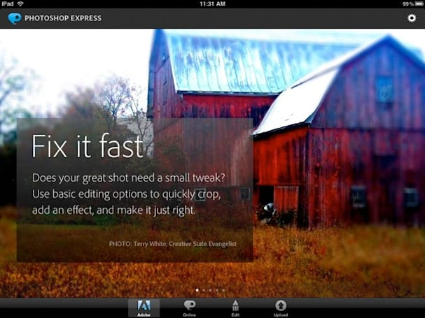 Adobe Photoshop Express: mobile manipulation mastery gets prettier UI, iPad support