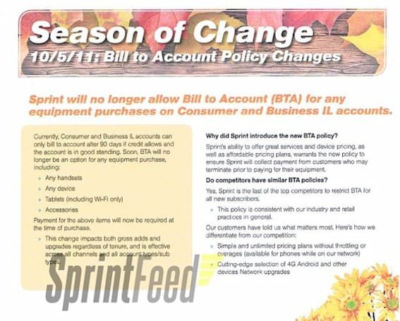Sprint set to end Bill to Account program on October 5th, all equipment must be purchased outright