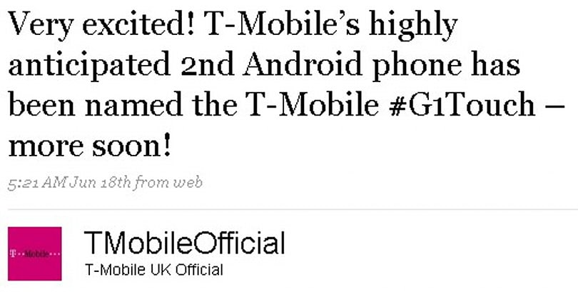 G1 Touch branding confirmed for T-Mobile UK's next Android device