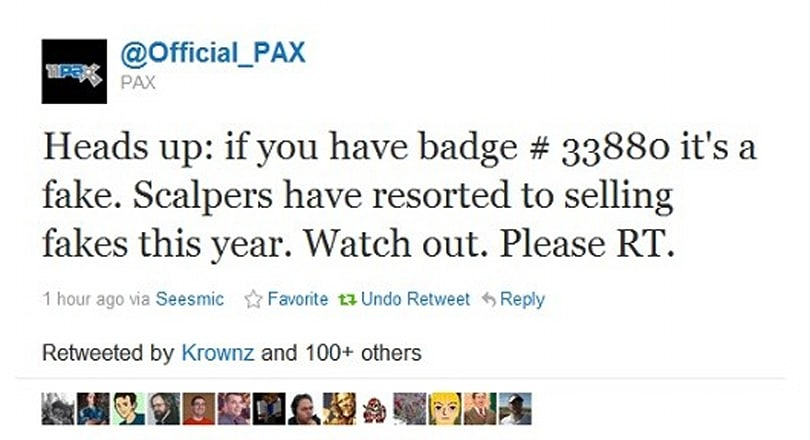 PSA: Scalpers selling fake PAX badges