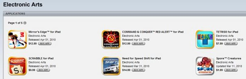 Electronic Arts stable now live on the iPad