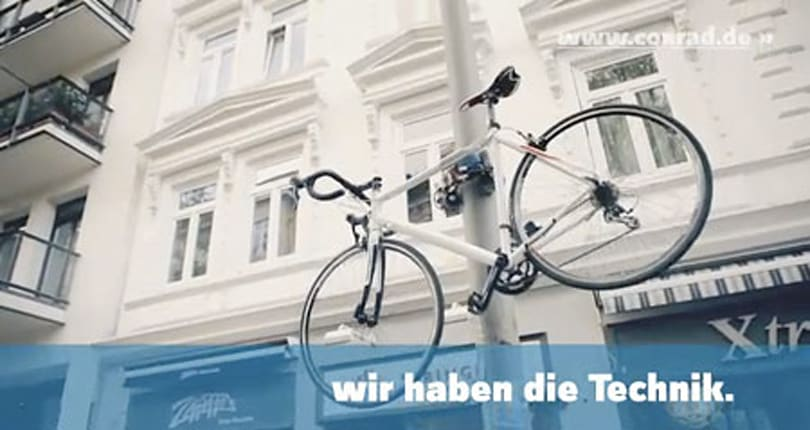 Bicycle lock climbs poles, encourages would-be thieves to look elsewhere (video)