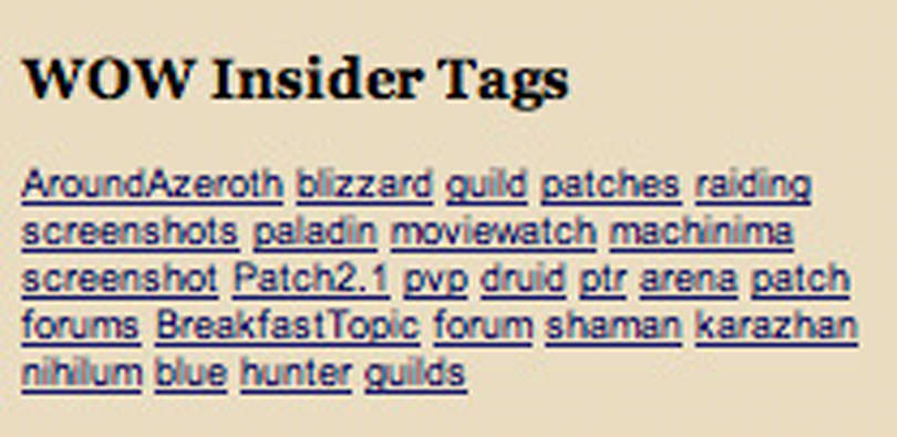 WoW Insider tag feeds