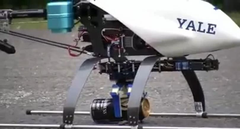Robotic Yale Aerial Manipulator grabs a can of Guinness
