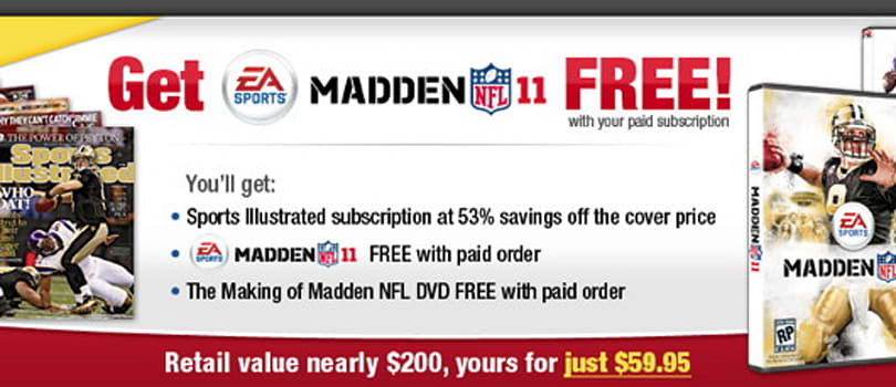 Sports Illustrated subscription and Madden 11 bundled for $59
