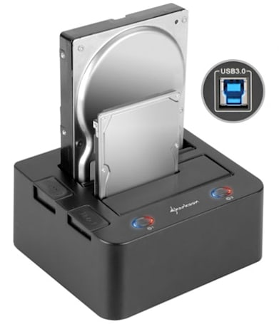 Sharkoon's USB 3.0 SATA HDD dock doubles up, now handles two drives