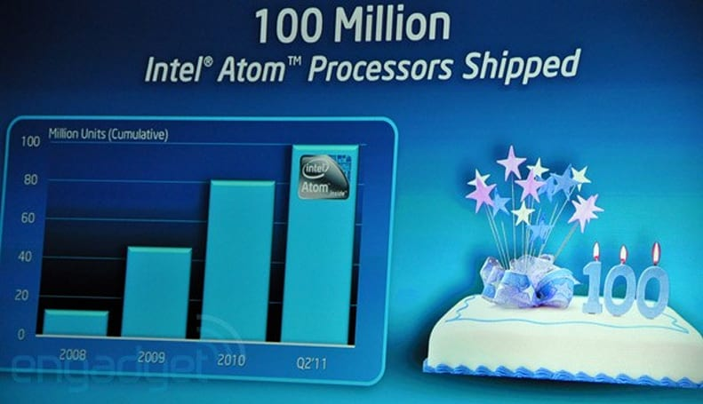 Intel ships 100 million Atoms, celebrates third birthday of netbook CPU
