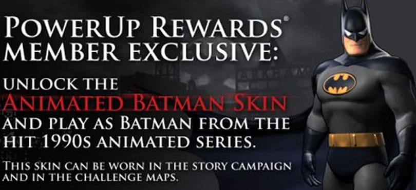Arkham City's Animated Series Batman skin is exclusive for GameStop PowerUp Rewards members