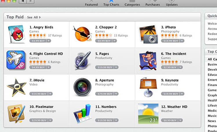 Mac App Store live, with Angry Birds topping charts