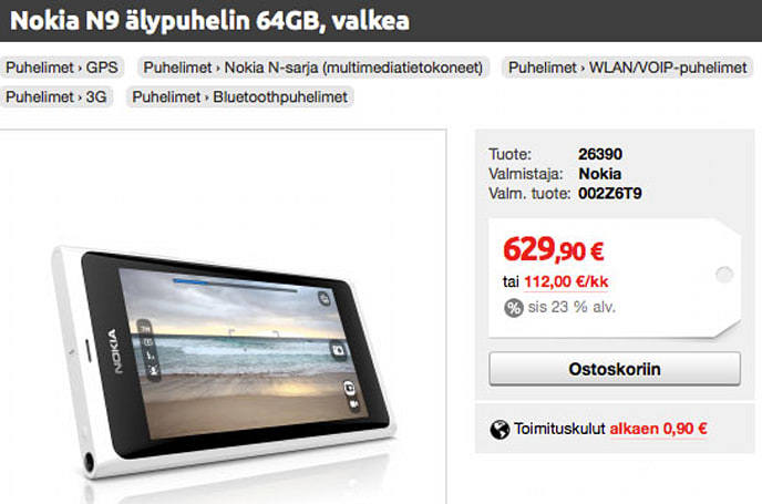 White Nokia N9 descends from Lintukoto, goes on sale in Finland