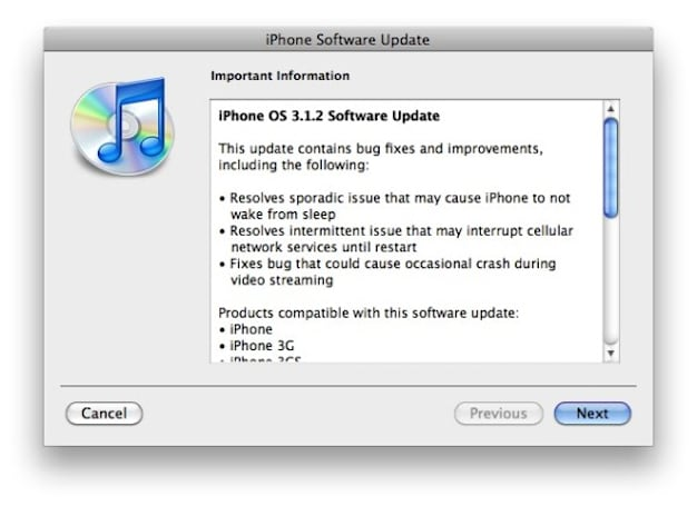 iPhone OS 3.1.2 update now live, fixes sleep, network issues