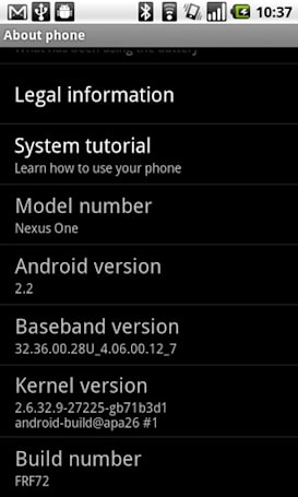 Android 2.2 build FRF72 for Nexus One finally leaks
