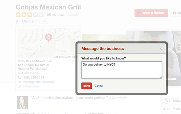 You can now message businesses directly through Yelp