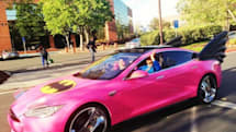 Visualized: Sergey Brin rides pink Teslamobile Model S, complete with Chromed out rims