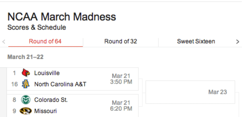 Google search adds sports info, gets a bad case of March Madness