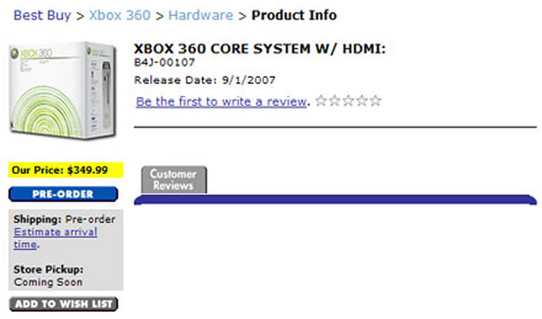 """HDMI-equipped Xbox 360 """"Core system"""" shows up for pre-order"""