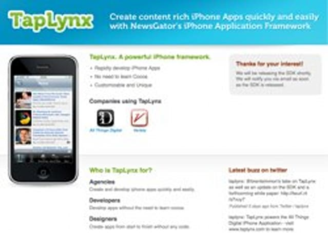 TapLynx - Create iPhone focused newsreader applications without programming