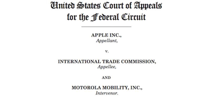 US Court of Appeals for the Federal Circuit revives Apple's ITC battle with Motorola over multi-touch patents